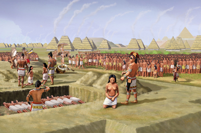 An artist envisions a mass sacrifice of young women in Cahokia around 1000 CE that may have filled one of the more notorious graves in Mound 72 (Credit: Herb Roe)