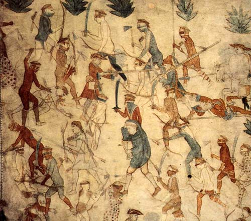 A detail in the second of the two bison hides — known as the Segesser Hide Paintings — depicts the attack on Villasur's party in eastern Nebraska. The hides are now housed in Santa Fe's Palace of the Governors museum.