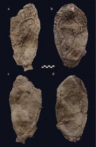 Two typical Promontory moccasins recovered in may 2013, with the bottom row showing their patched soles.